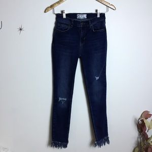 Free People Distressed Jeans Fray